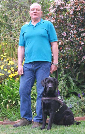 Sakkie Parsons & Pedro his guide dog